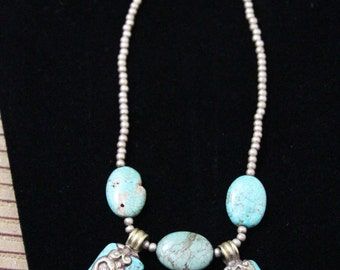 Blue Natural Turquoise Tibetan Diety Pendants Necklace with Turquoise and Brass Spacers