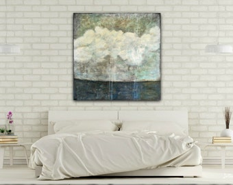 "Landscape Painting: 36x36 Mixed Media Art, Impressionist Painting, Sky Clouds, Stormy Skies, Original Art, aqua, gray, grey, ""Impending"""