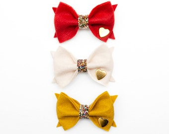Choose your color    Felt Bow with Glitter Center and Gold Heart Stud    Clip or Headband