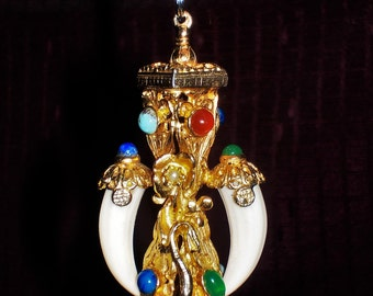 HUGE Ornate Antique Etruscan Gold tone FOB Multi-Stone Swan Pendant - Nobility, King and Queen, High Status, Riches, Lavish