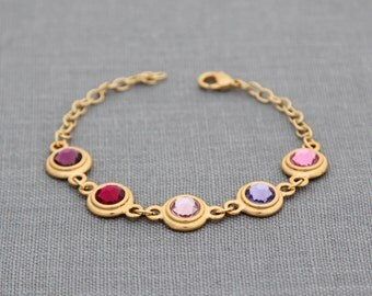 Gold Grandma Bracelet, Personalized Gift for Mother, Aunt, Mom Birthstone Jewelry Gold