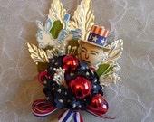 Democrat Election Corsage Convention Vintage Spun Cotton Uncle Sam Donkey Red White Blue 4th of July Keepsake