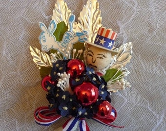 Democrat Election Corsage Convention Vintage Spun Cotton Uncle Sam Donkey Red White Blue 4th of July Keepsake