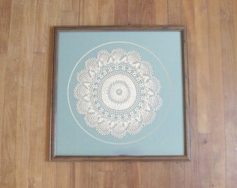 Vintage Large Doily Textile Wallhanging // Framed Doily // Boho // Rustic // Country // Antique