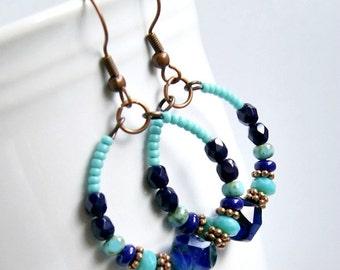 blueberry hoop earrings, copper hoops, colorful, czech glass earrings, blue, drop, dangle