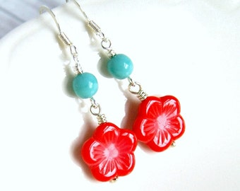 rita red flower and aqua rondelle czech glass drop earrings, dangle, silver french hook