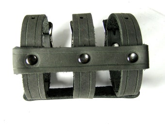 Summer Sale! 15% off - Triple Strap CAGE CUFF Leather Bracelet in Black and Gunmetal