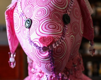 Stuffed Dog in Bright Pink with Fancy Trims