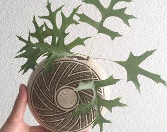 round ceramic wall hanging vase / planter