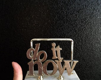 vintage letter mail holder / do it now / office paperweight / desk accessory / gold silver / hollywood regency / funny