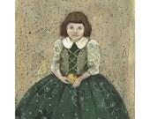 Girl original illustration painting people figurative portrait green dress
