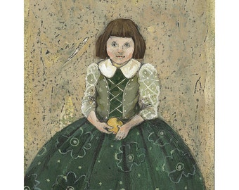 Girl original illustration painting people figurative portrait green dress