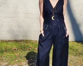 black shimmery witch girl bell bottom palazzo pant jumpsuit pantsuit cat suit disco glamour bohemian rock and roll 1970s retro groovy 90s