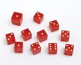 11 Small or Miniature Vintage Red Prystal Bakelite Dice