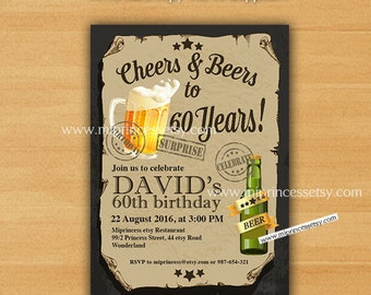 Cheers & Beers Birthday Invitation, Beer invitation, birthday party invites,  man beer party 30th 40th 50th 60th 70th 80th  - card 417