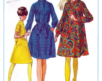 Simplicity 7296 Vintage 60s Sewing Pattern for Misses' Step-in Dress - Uncut - Size 14 - Bust 34