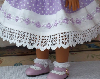 Wellie Wisher®  Shoes / Lavender and White Scalloped Two Tone Shoes /  Accessories for American Girl Wellie Wishers®