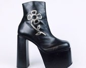 90's Does 70's Daisy Luichiny Black Leather Mega Platform Ankle Boots // Made in Italy // 9 - 10