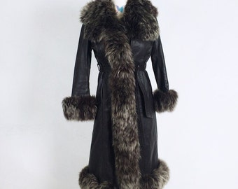 70's Gorgeous Fluffy Brown Leather and Lamb Trimmed Almost Famous Coat // XS - S