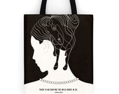 """Literary tote bag, """"Virginia Woolf"""" shopping bag, inspirational tote bag, literary gift, college student gift for girlfriend, book bag"""