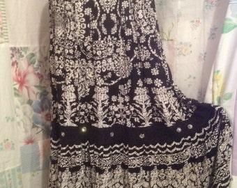 SMALL/TALL  Romantic Bohemian Black and White Extra Long Skirt