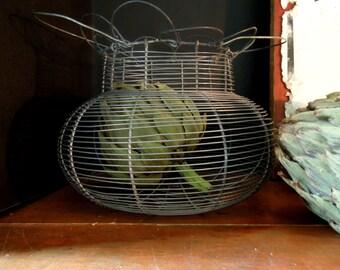 Vintage French Wire Egg Basket / Egg Basket / Country Basket / French Wire Salasd Basket / French Country