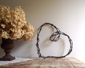 Barbed Wire Heart Wreath , Heart Wall Hanging , Rustic Farmhouse Chic , Industrial Decor , Valentine Wedding Wreath , Rustic Cabin Decor