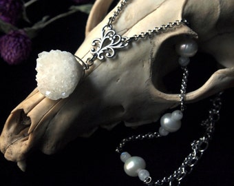 Silver Pearl and Druzy Crystal Necklace Spirit of the River 18 to 20 inches adjustable