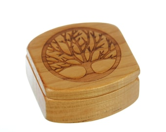 "Tree of Life Wooden Box, Solid Cherry, Pattern MS24 Tree of Life, 1-3/4""L x 1-7/8""W x 7/8""D, Paul Szewc, Masterpiece Laser"
