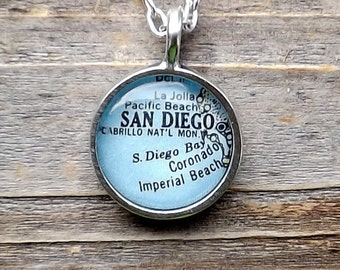 San Diego California Map Pendant / San Diego California Vintage map necklace / Southern California Map necklace
