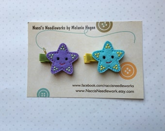 Felt Hair Clips- Starfish Hair Clips- sold individually or as a set of two.