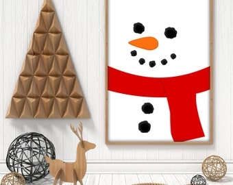 Christmas Snowman printable poster. Jolly Snowman face winter decor, A4, A3, 8x10 and 11x14 pdf, instant download