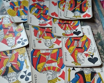Beautiful set antique French Belote playing cards stamped 1880 - ATTIC FIND - Belle Brocante