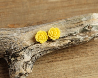 Yellow (04) 13mm Dainty Resin Rose Cabochons CF1027