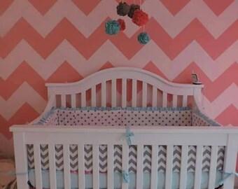Coral Aqua and Grey Crib Bedding, Gray Chevron Crib Bumper, Aqua Girls Crib Bedding, Bumperless Crib Set, Coral Chevron Bumper
