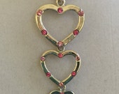 Silver Hearts with Pink Crystals Necklace