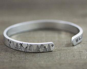 Hand Stamped Cuff Bracelet - Wanderlust Bracelet - Mountain Jewelry - Gifts for Women Friends - Boho Bracelet - Best Friend Birthday Gift