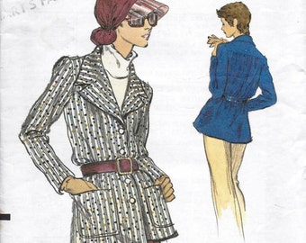 Vogue 8652 Misses' 70s Unlined Shirt Jacket Sewing Pattern Bust 36