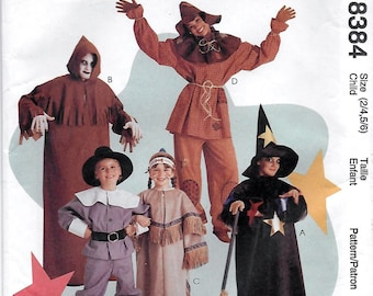 McCalls 8384 Child's Halloween Costume Sewing Pattern Breast Chest 21 to 25 Witch Ghoul Indian Scarecrow Pilgrim