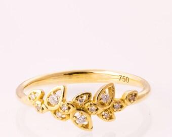 Leaves Engagement Ring, 14K Gold and Diamond engagement ring, engagement ring, leaf ring, filigree, antique, art nouveau, vintage, 11