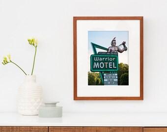 Warrior Motel Vintage Neon Sign Print | Mid Century Motel Sign