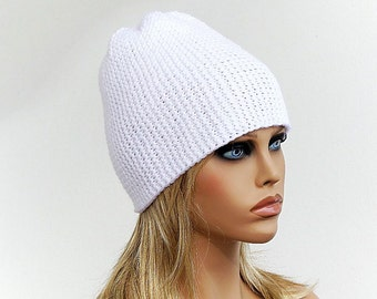 White Warm Womens' Knitted Hat, Teens hat, Unisex Beanie Winter hat, Knit Hat, Slouchy beanie, Ski cap, Gift Ideas for Her