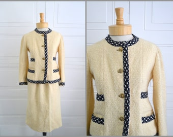 1960s Chanel Reproduction Wool Skirt Suit