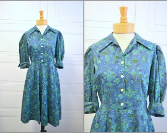 1940s Blue Cotton Print Dress