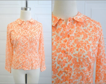 1960s Lady Archdale Tangerine Floral Blouse