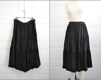 1950s Black Pleated Tiered Skirt
