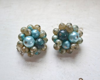 1960s Blue Pearl and Bead Cluster Clip Earrings