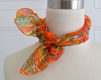 1970s Orange Marbled Chiffon Scarf