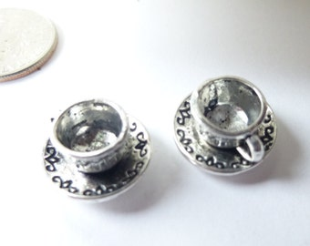 2-Fancy 3D Silver Coffee or Tea Cup Charms Pendants Dangles 9 x 14mm