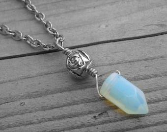 Blue Moonstone Crystal Point Necklace Iridescent Opal Crystal Jewelry Rainbow Moonstone Opalite Silver Rose Bead Bohemian Boho Birthstone